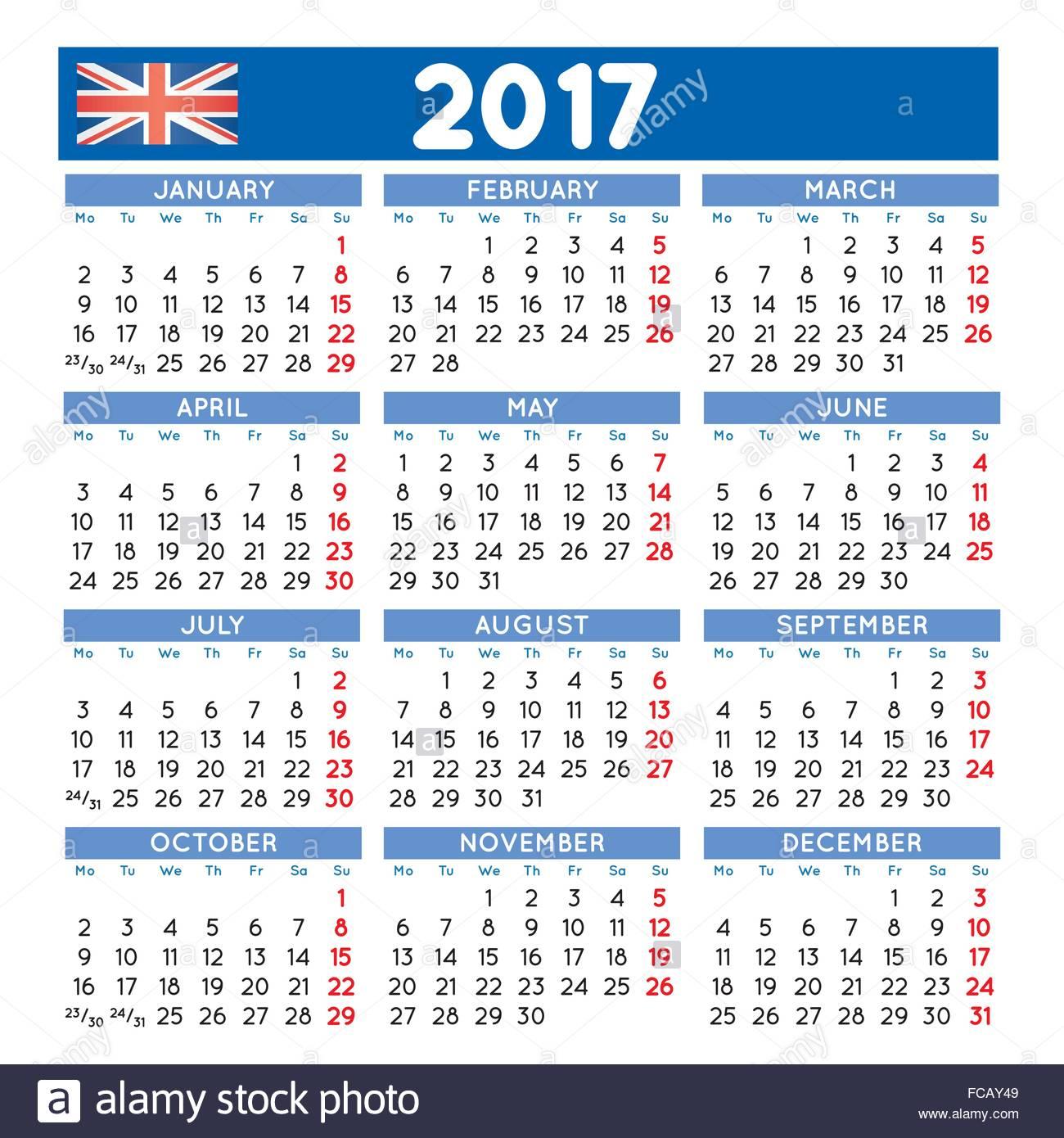 2017 Elegant Squared Calendar English Uk Year 2017