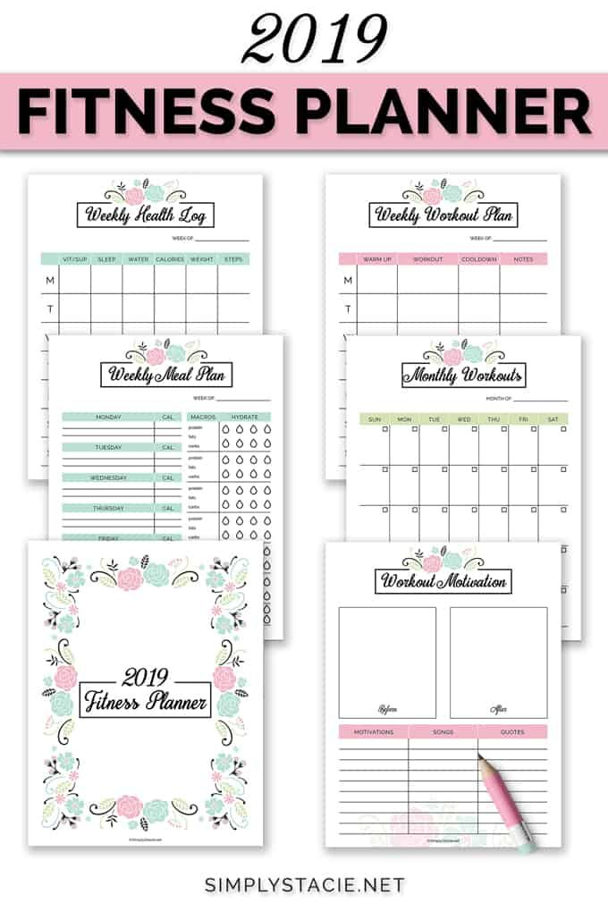 2019 Fitness Planner Free Printable Organize Your Health