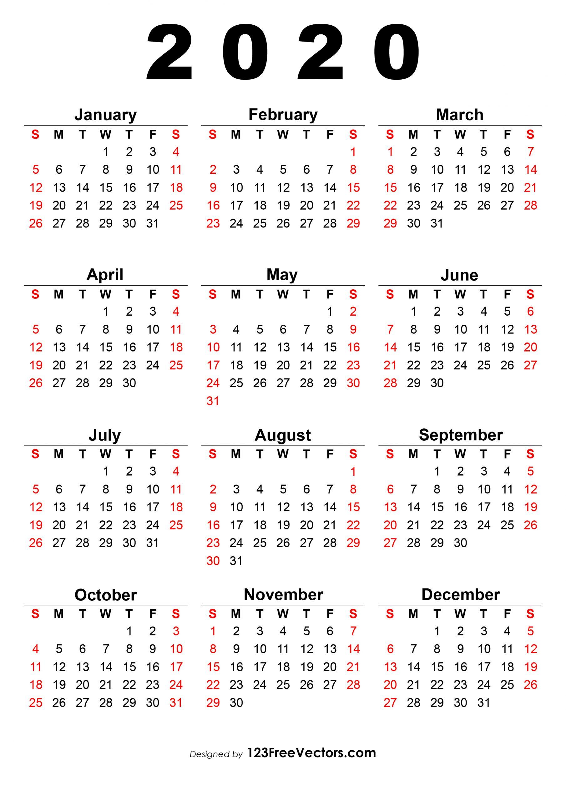 2020 12 Month Single File Calendar Printable Free 1