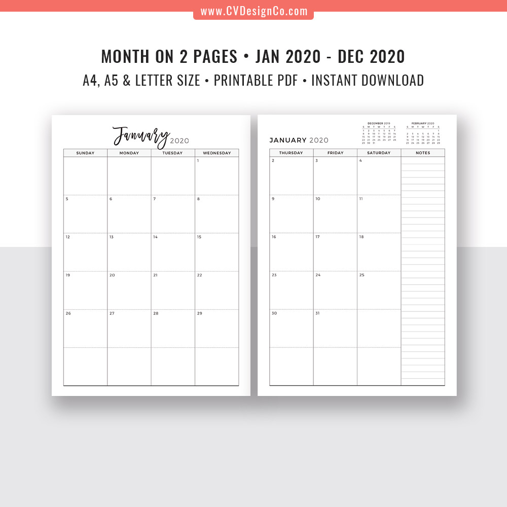 2020 2 Page Monthly Calendar Printable Example Calendar