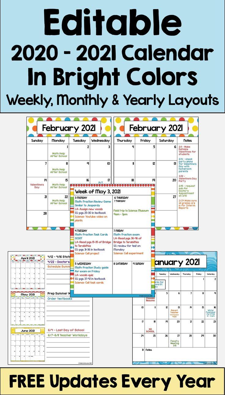 2020 2021 Calendar Printable And Editable With Free 1