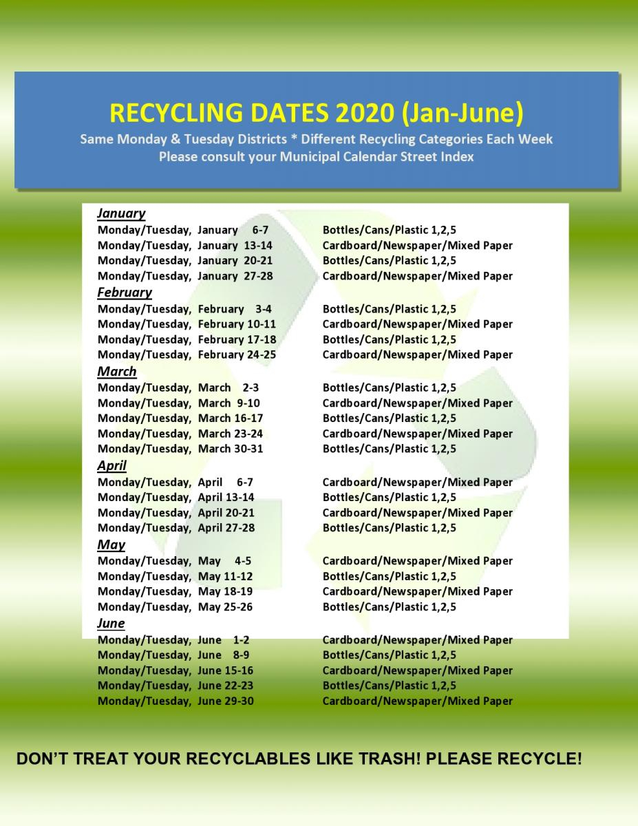 2020 And 2021 Recycling Dates Categories Wyckoff Nj