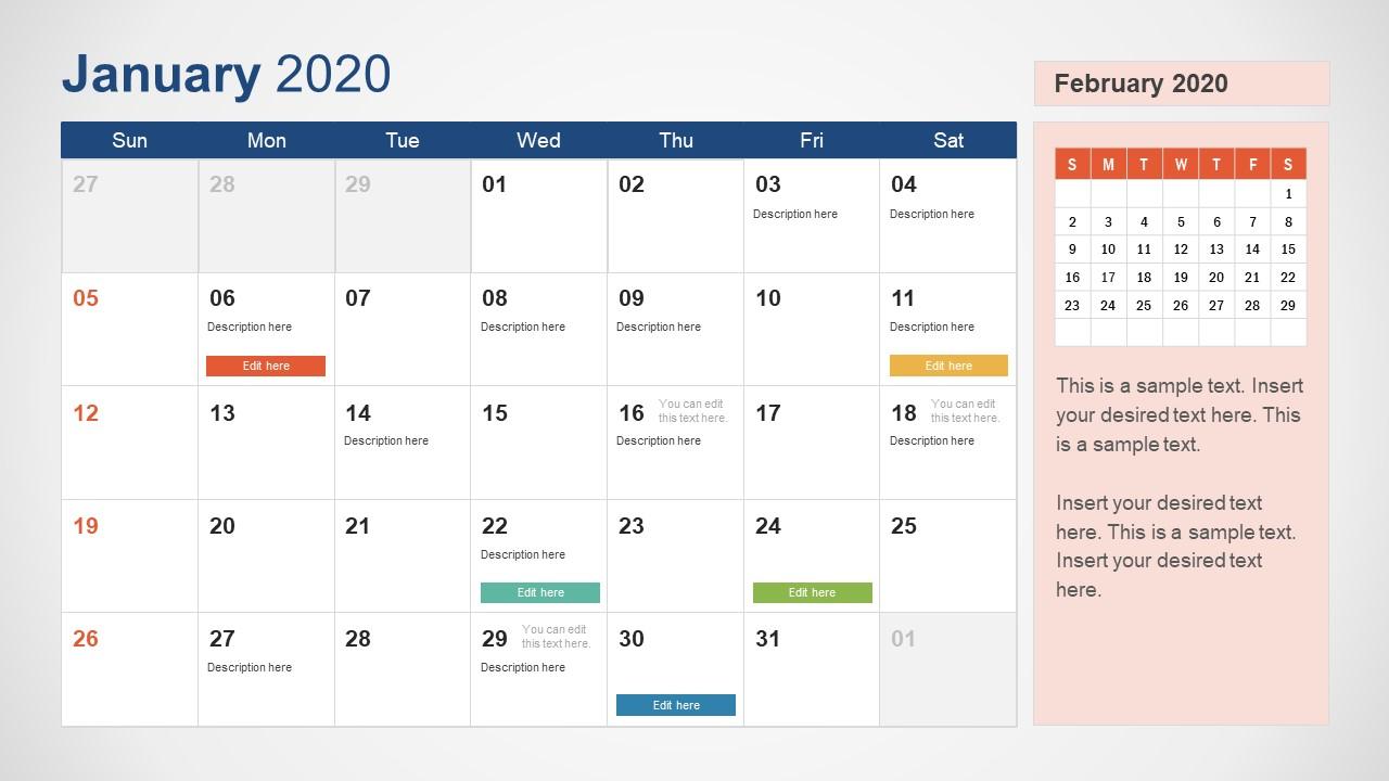 2020 Calendar Powerpoint January Slidemodel