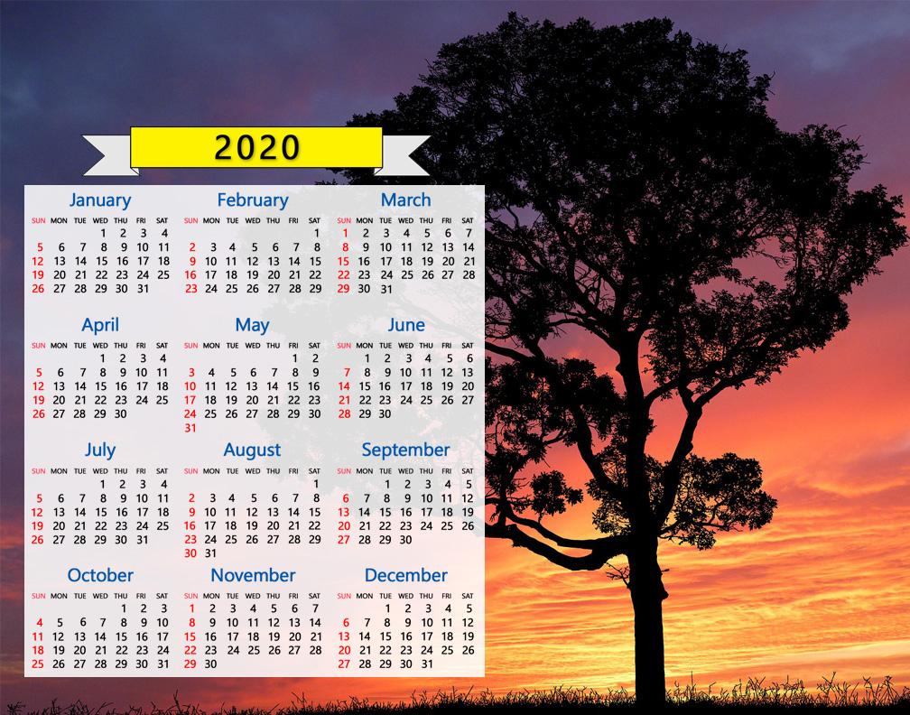 2020 Calendar Tree Silhouette Sunset Sunrise Nature