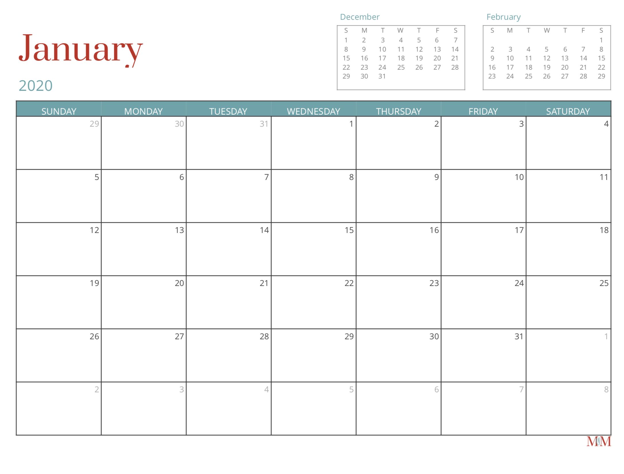 2020 Free Monthly Calendar Morganize With Me Morgan Tyree