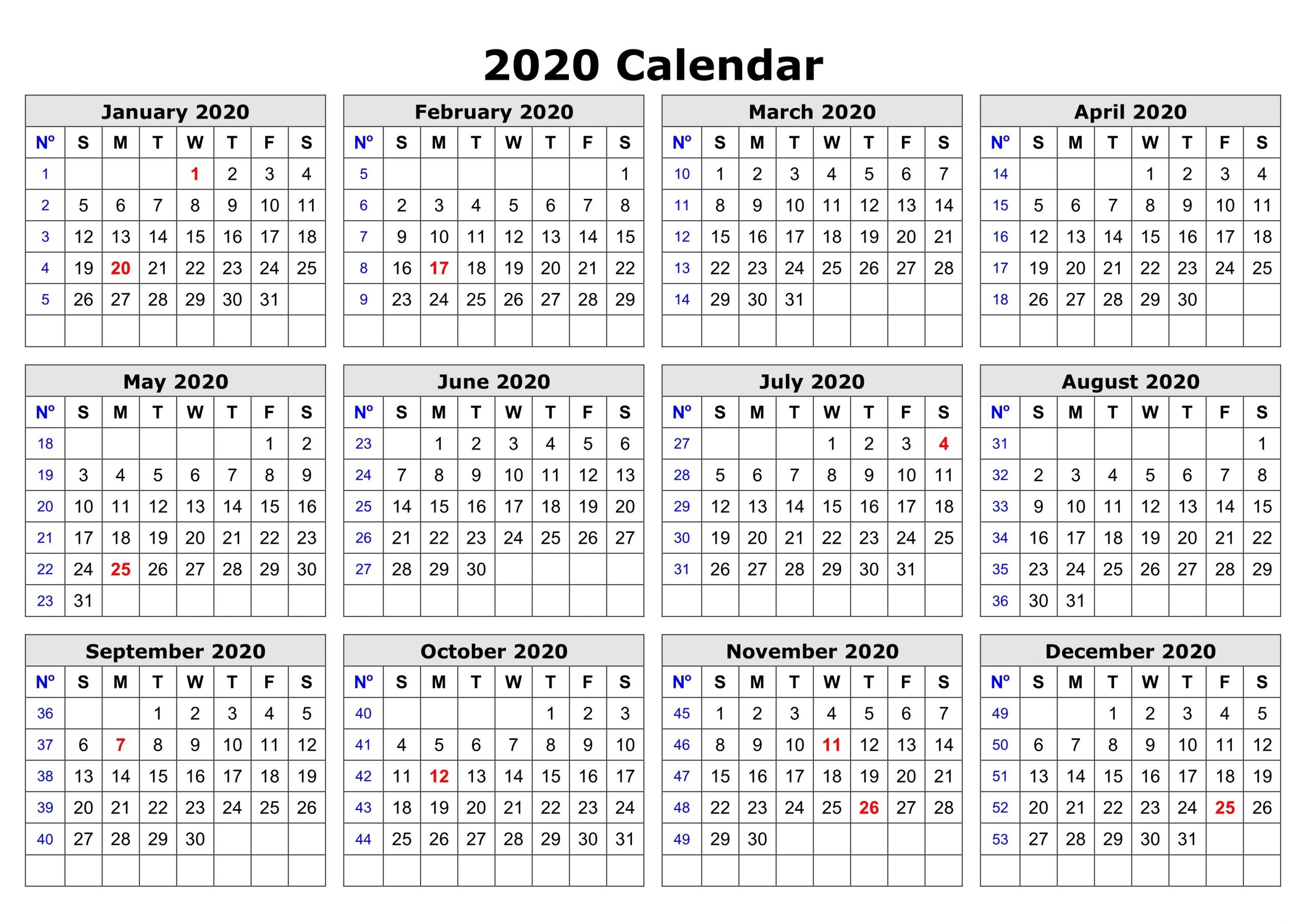 2020 One Page Calendar Printable Calendar 2020