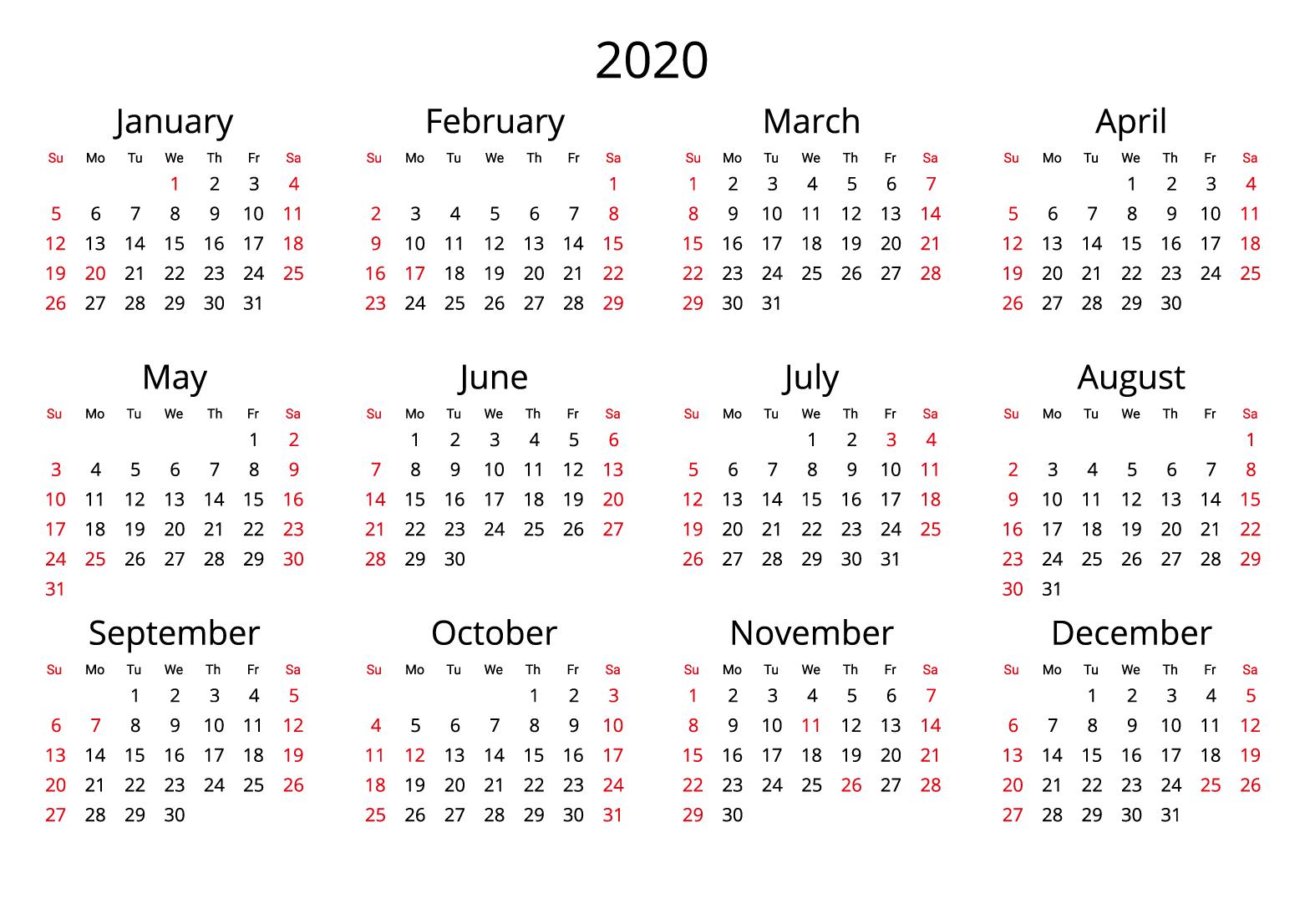 2020 Yearly Calendar Free Download Jpg Format