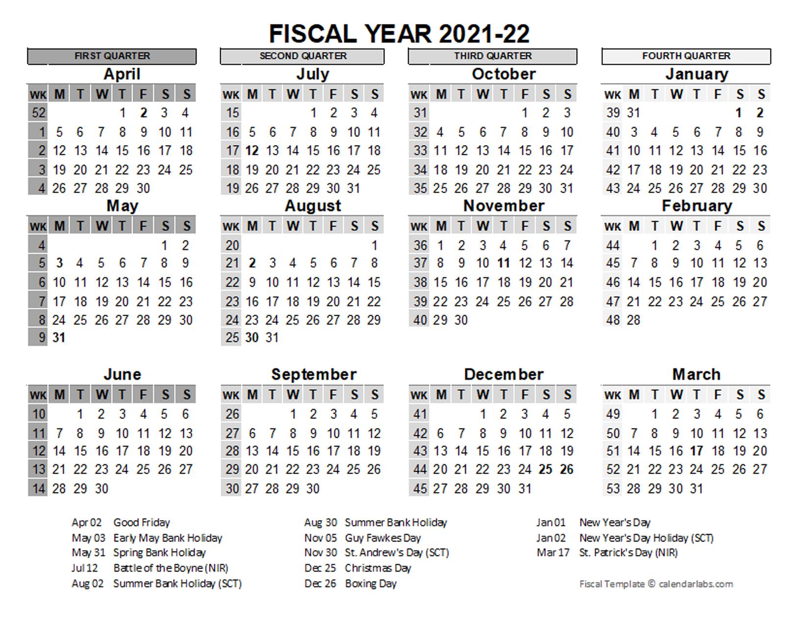 2021 2022 Fiscal Calendar Uk Template Free Printable