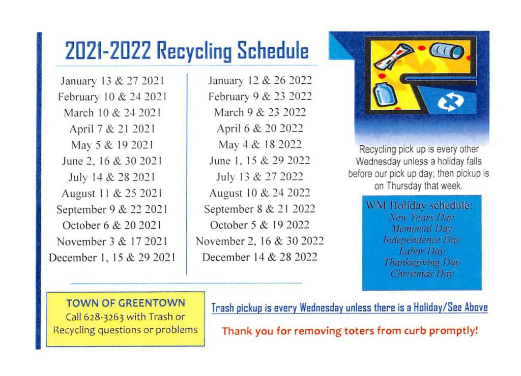 2021 2022 Recycling Schedule Town Of Greentown
