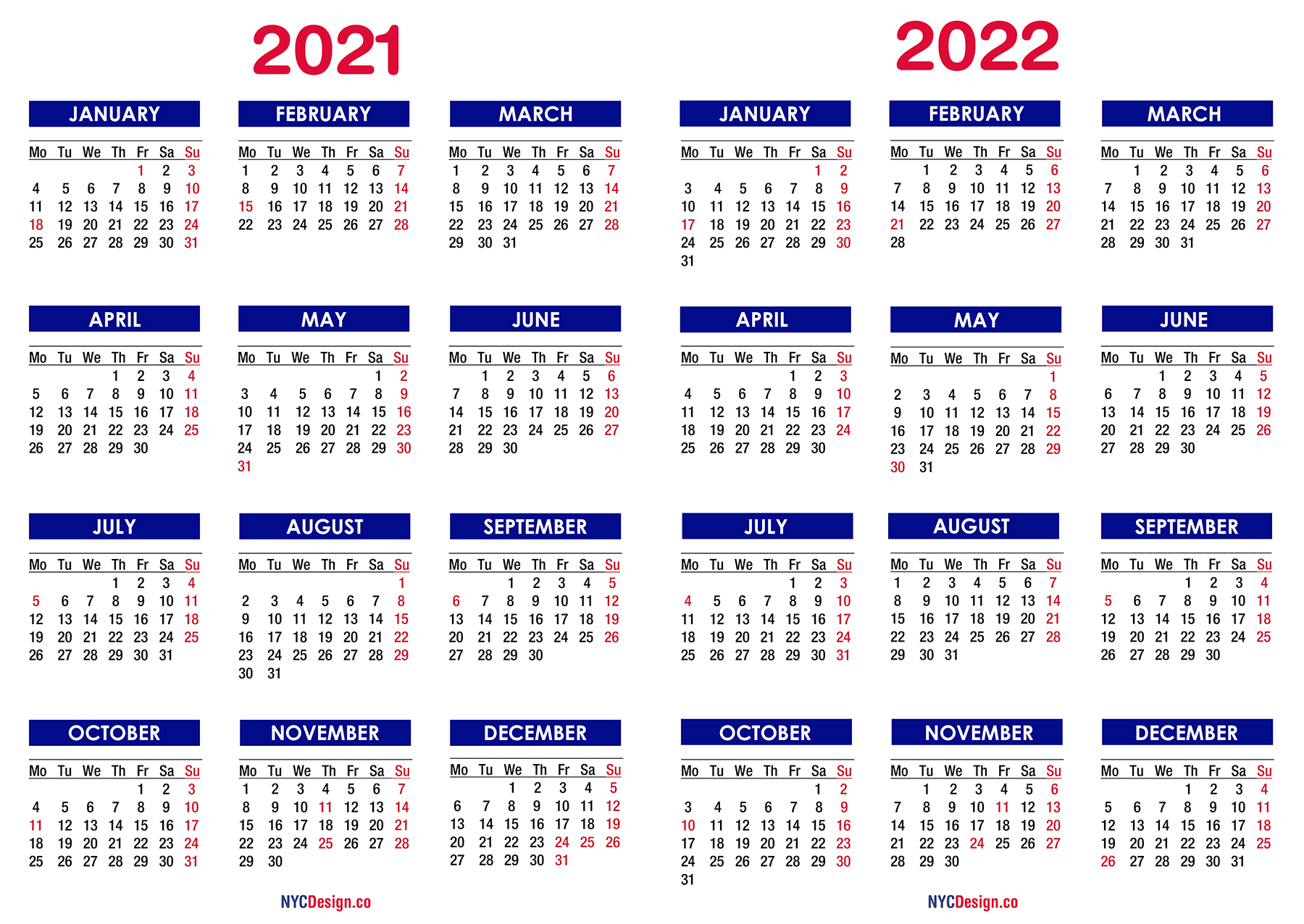 2021 2022 Two Year Calendar With Holidays Printable 1