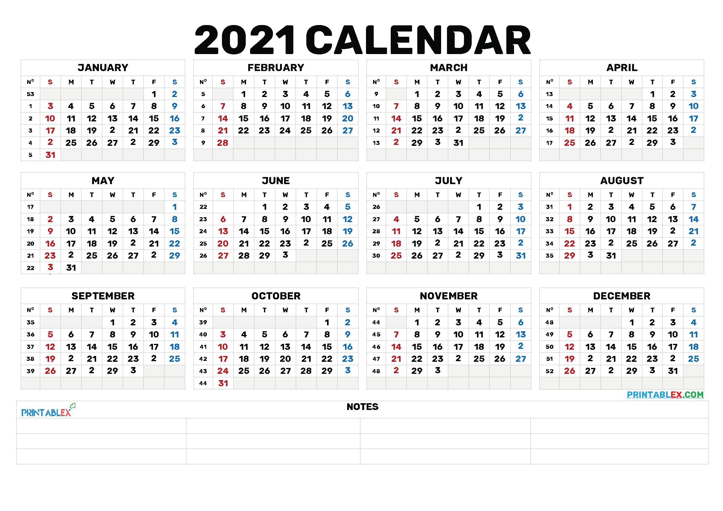 2021 Annual Calendar Printable Calendars 2021