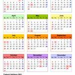 2021 Calendar Holidays And Observances Printable