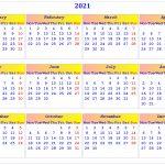 2021 Calendar Printable Calendar With Usa Holidays