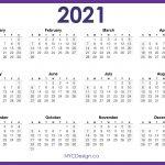 2021 Calendar Printable Free Horizontal Purple Hd