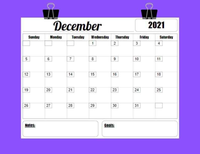 2021 Calendar Printable Template 12 Month 8 5 X 11 Instant 1