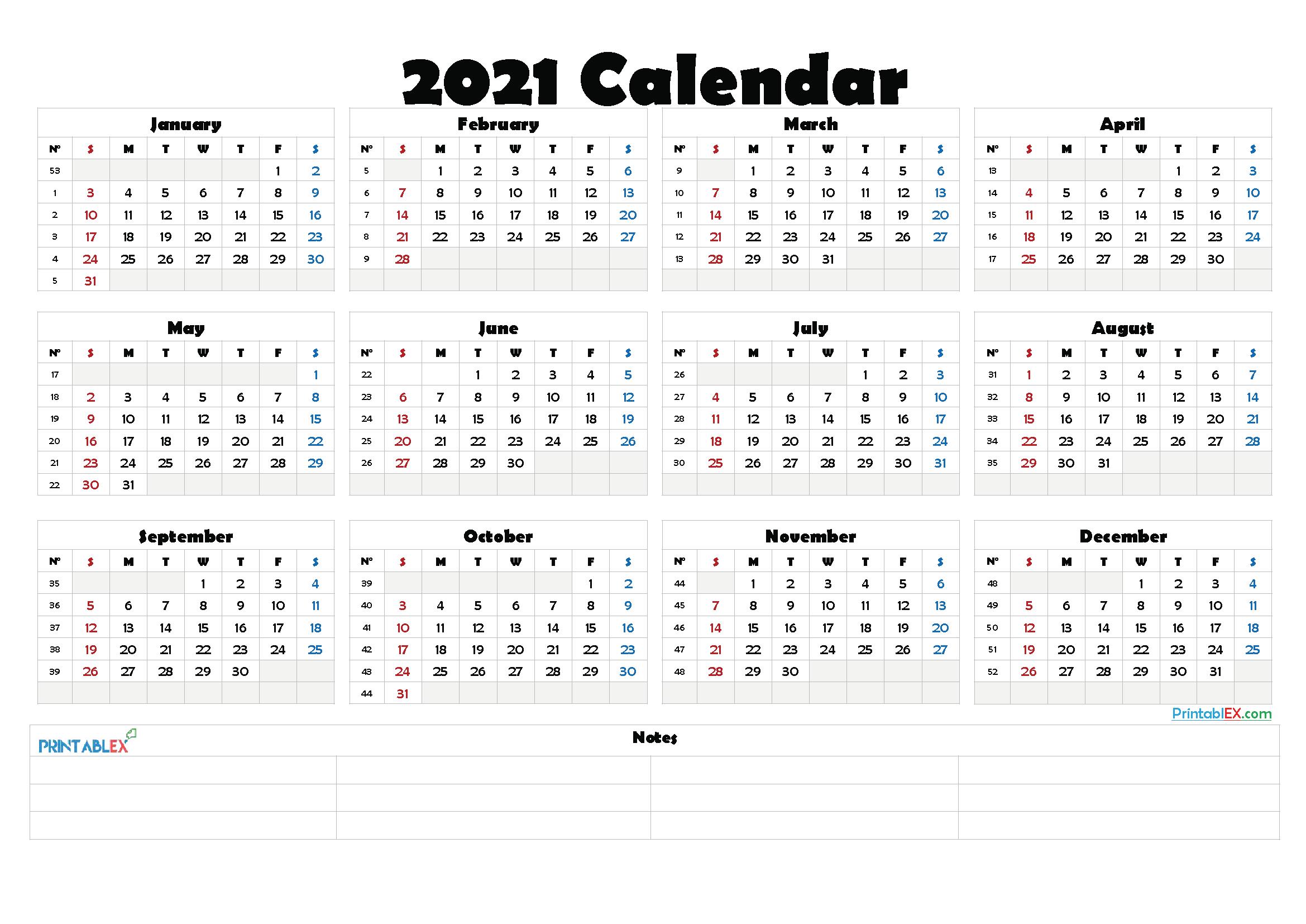 2021 Calendar Template With Week Numbers 2022 Calendar