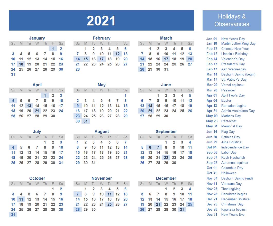 2021 Calendar With Holidays Calendar 2021