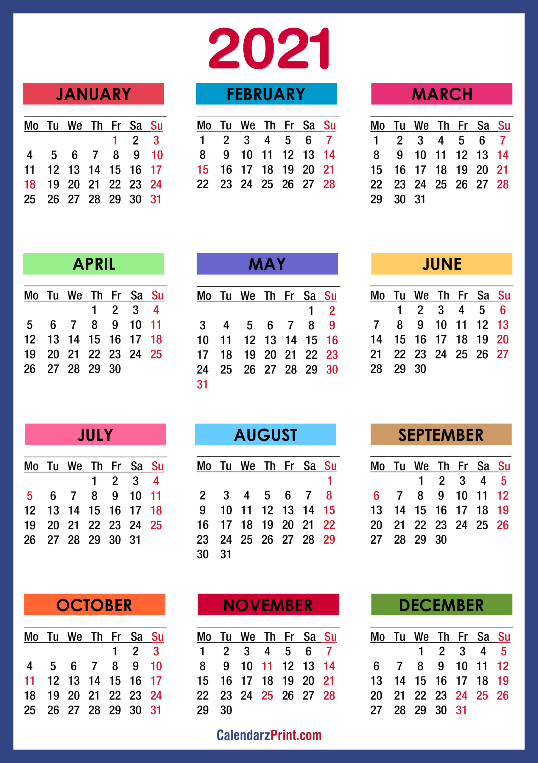 2021 Calendar With Us Holidays Printable Pdf 2021 1