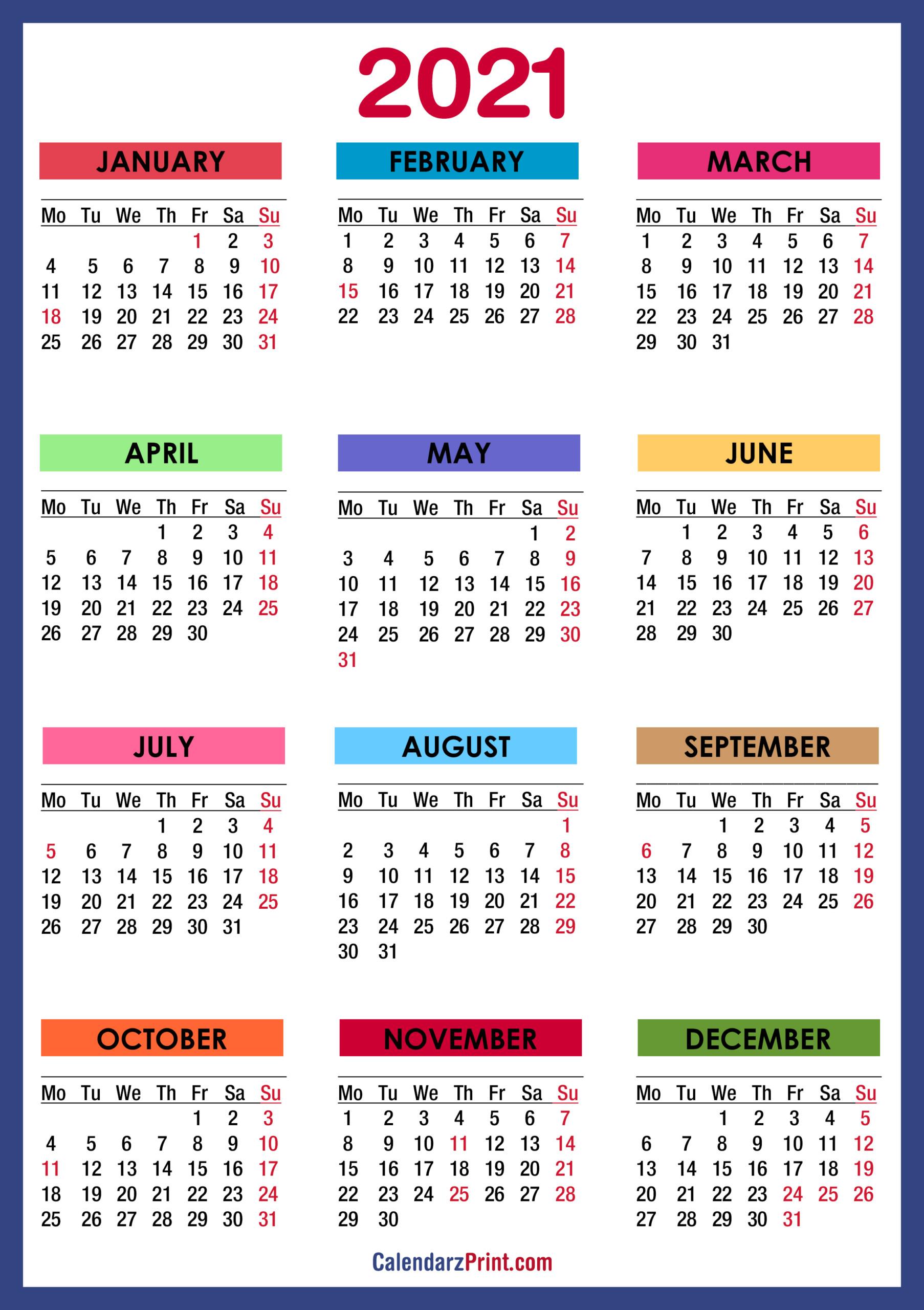 2021 Calendar With Us Holidays Printable Pdf 2021