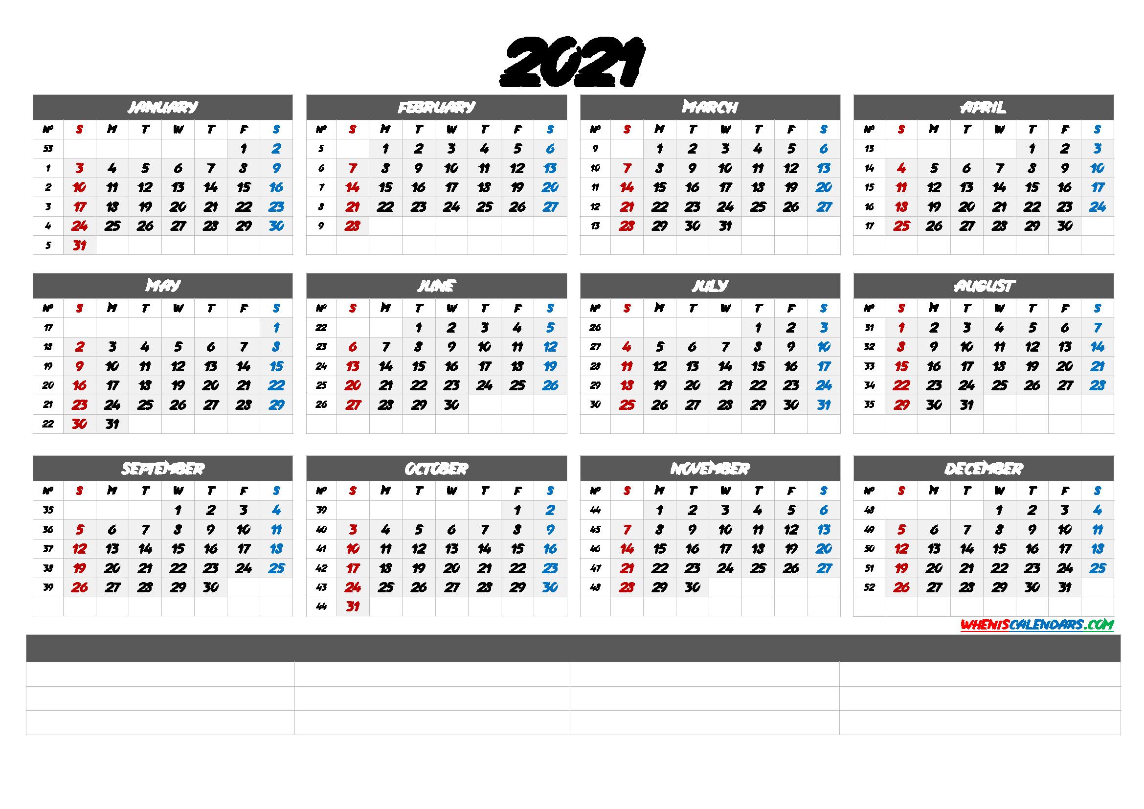 2021 Calendar With Week Number Printable Free 2021 Free