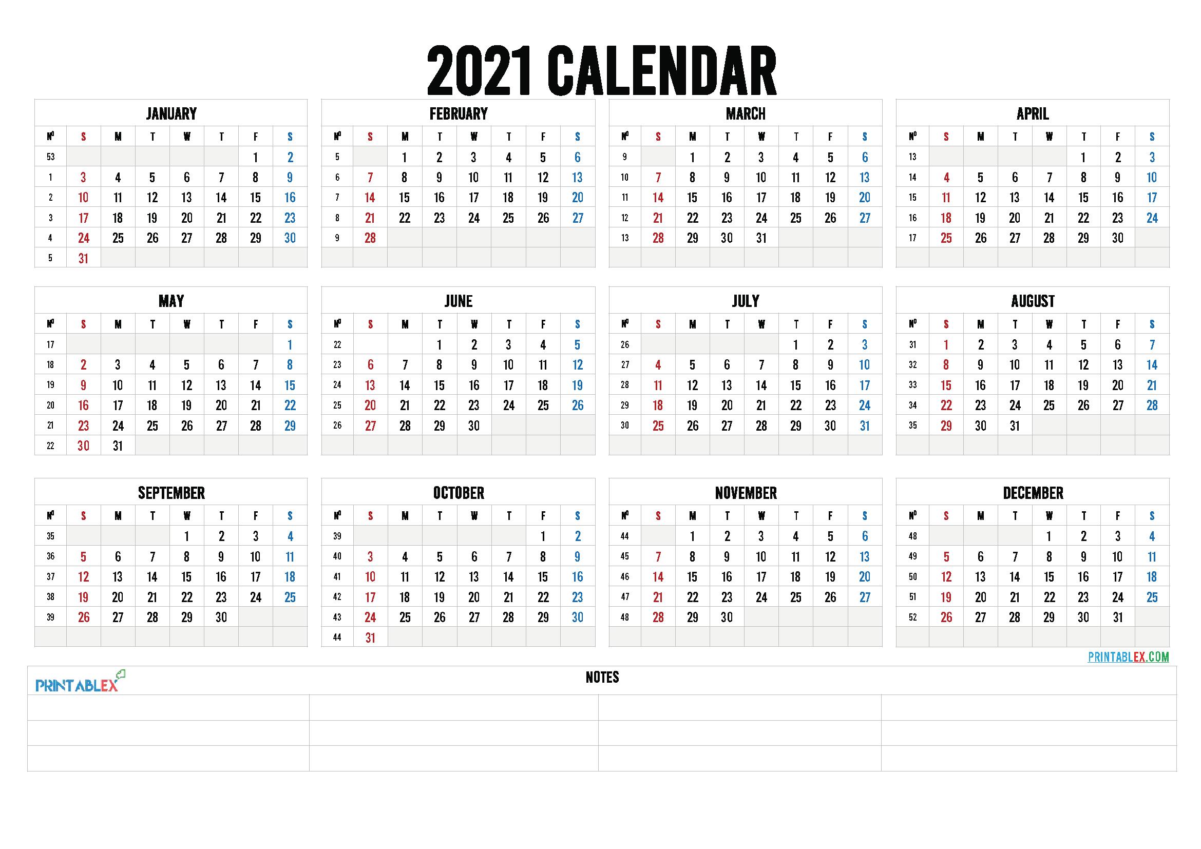 2021 Calendar With Week Number Printable Free Weekly