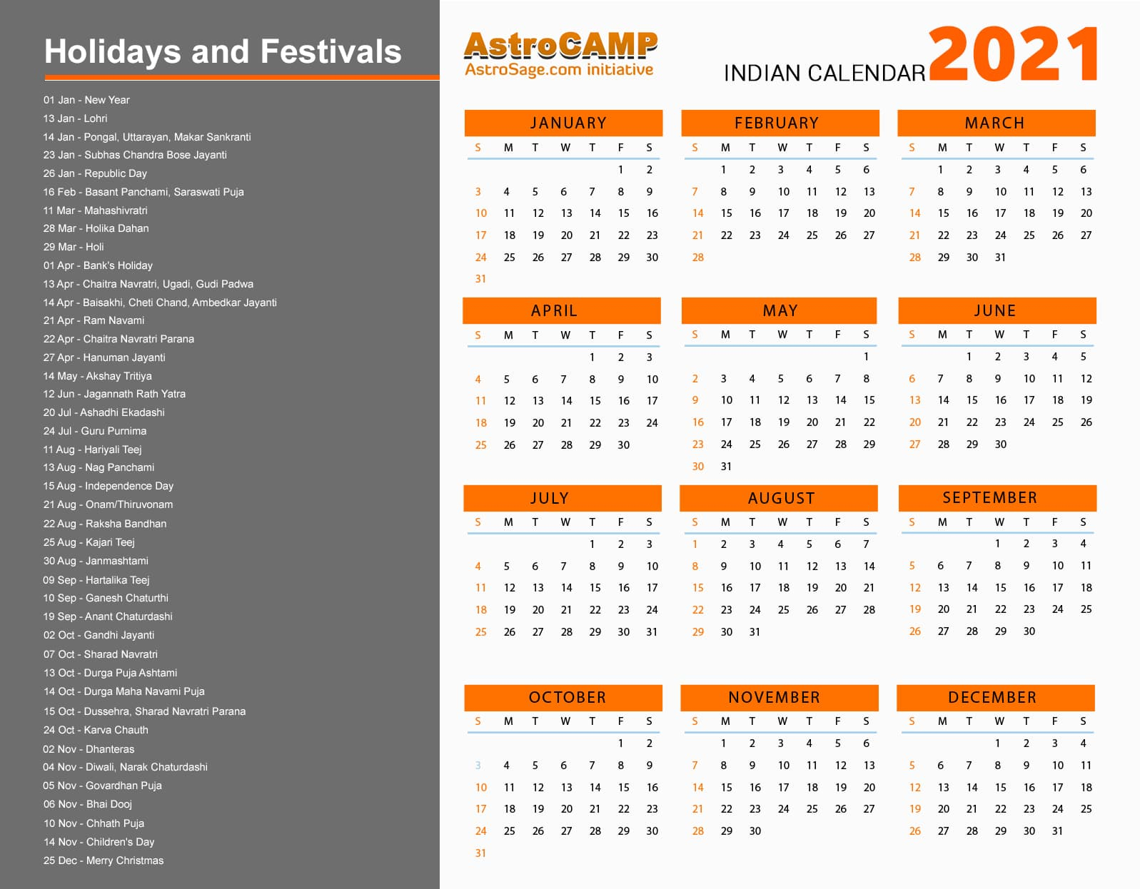 2021 Calendar Year 2021 Calendar Holidays Festivals