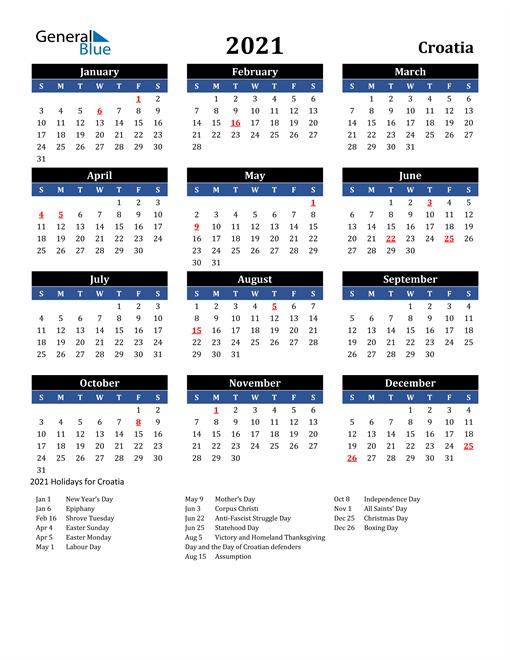 2021 Croatia Calendar With Holidays