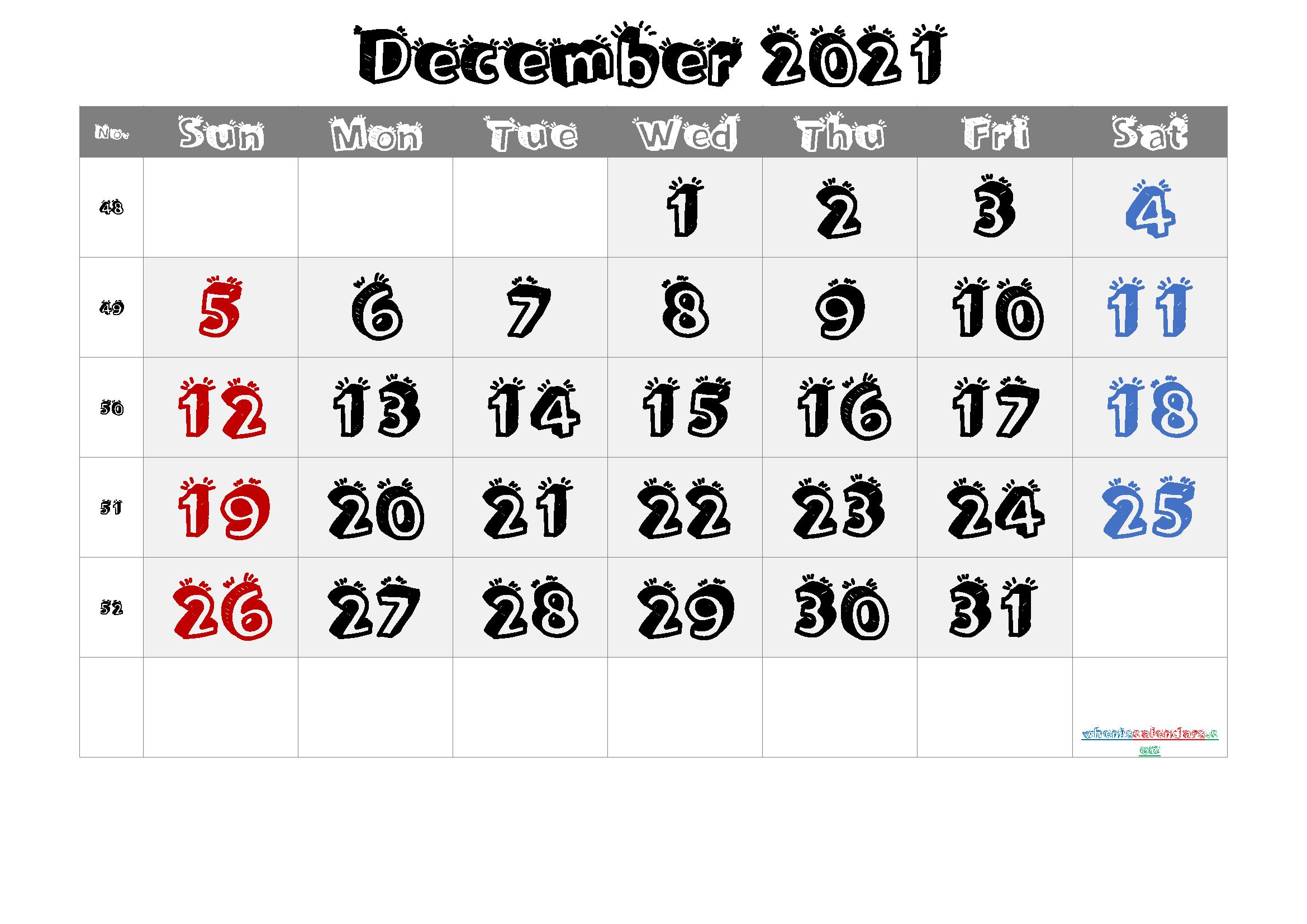 2021 December Free Printable Calendar 6 Templates Free