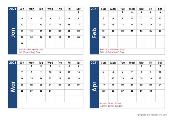 2021 Four Month Calendar Template Free Printable Templates
