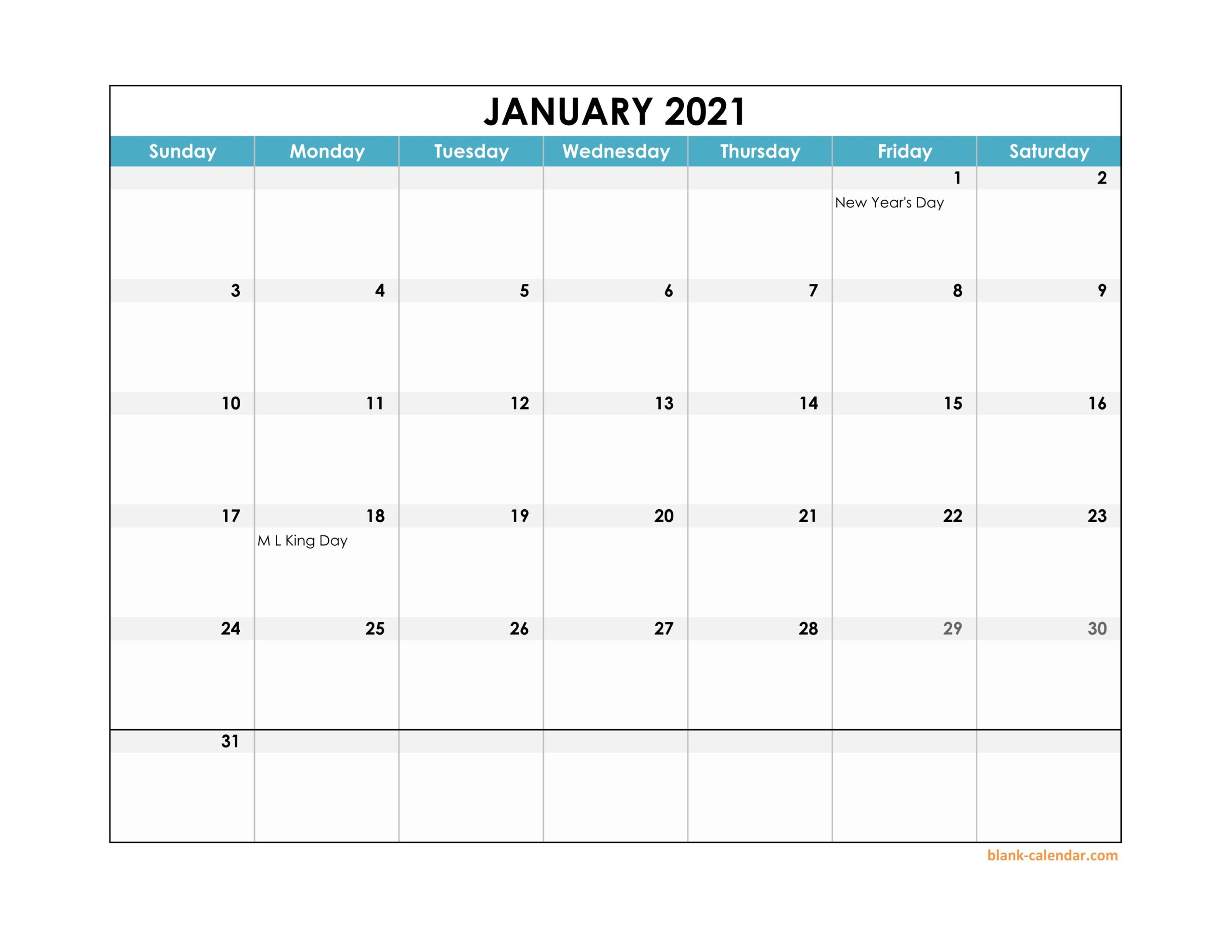 2021 Monthly Landscape Printable Calendar Printable 1