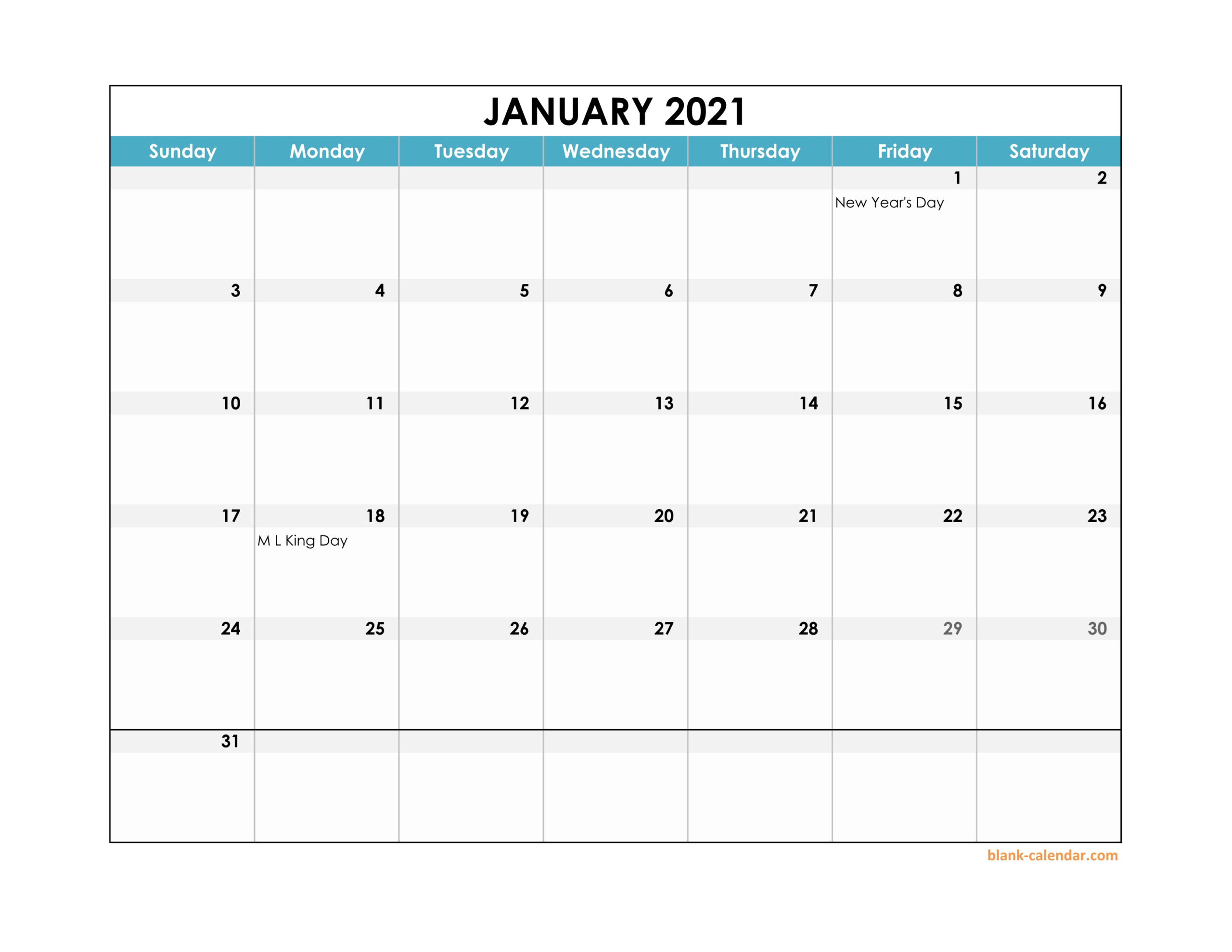 2021 Monthly Landscape Printable Calendar Printable