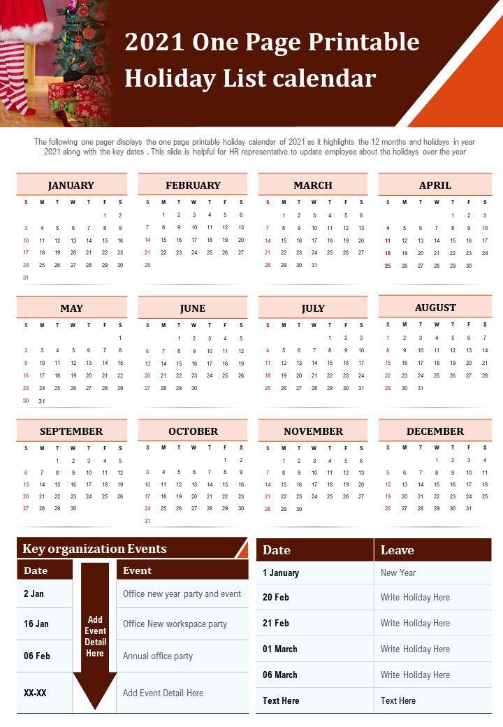 2021 One Page Printable Holiday List Calendar Presentation