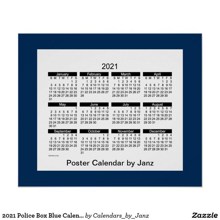 2021 Police Box Blue Calendarjanz Print Zazzle