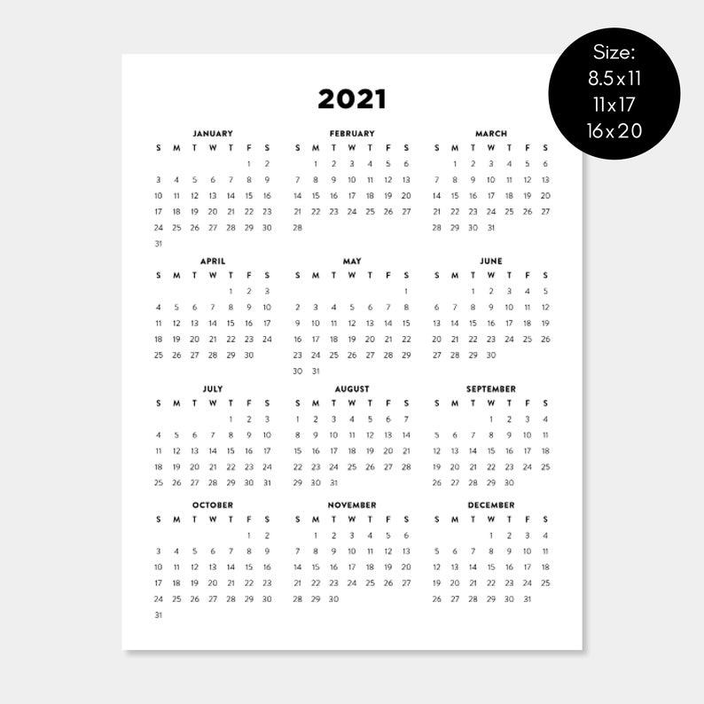 2021 Printable Calendar 2021 Year Planners Digital
