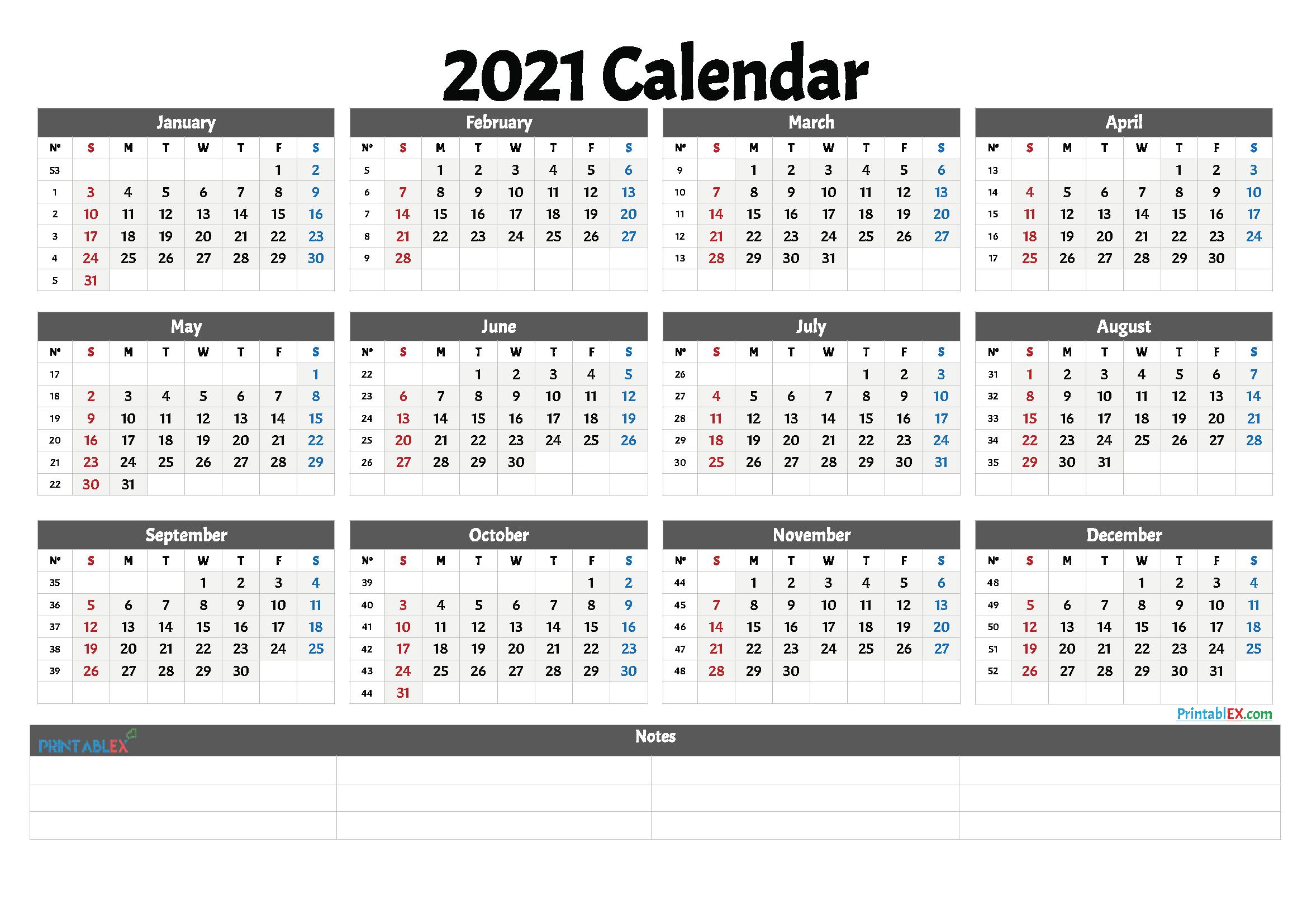 2021 Printable Calendar With Week Numbers Free Printable