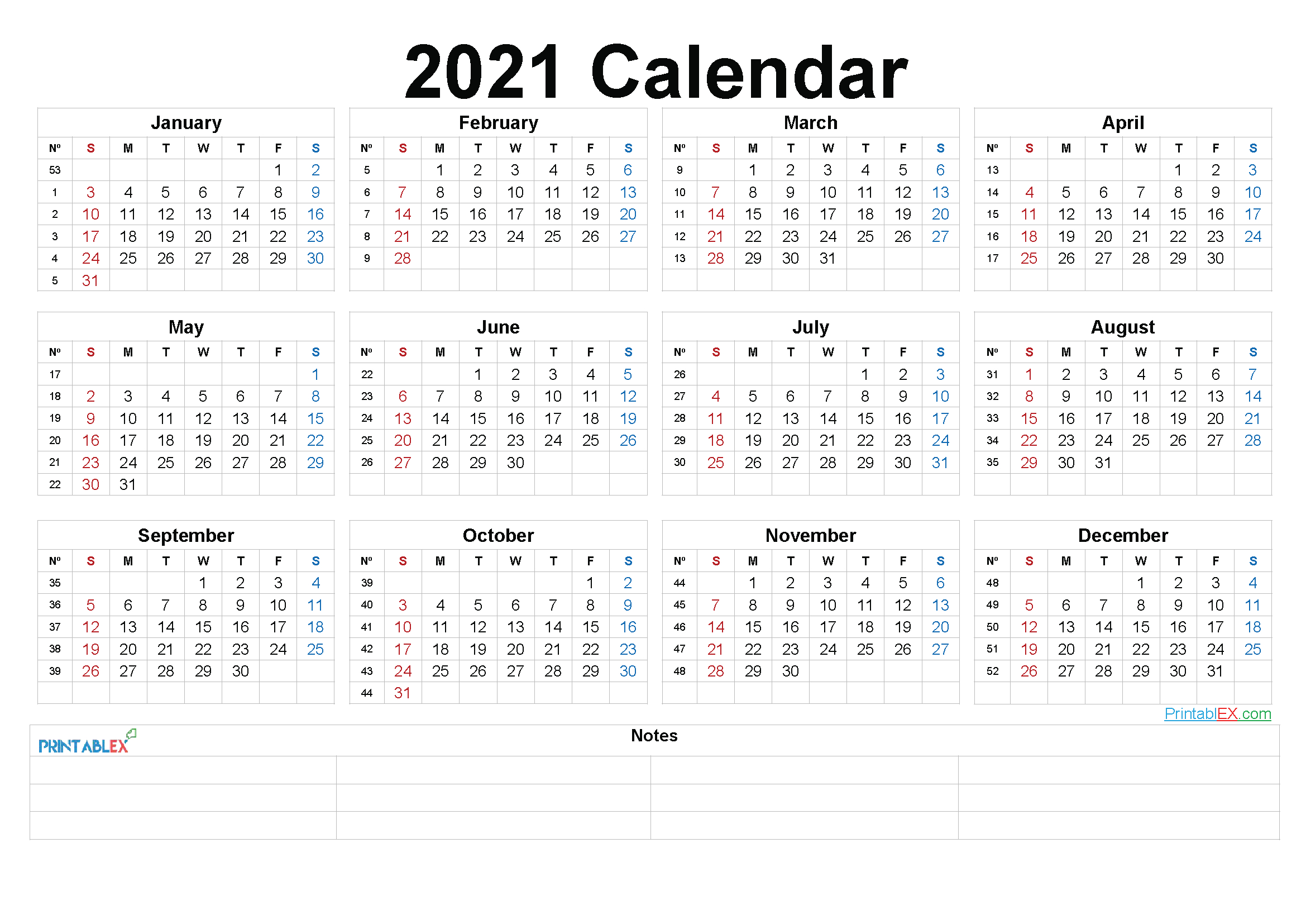 2021 Printable Yearly Calendar With Week Numbers 21ytw94
