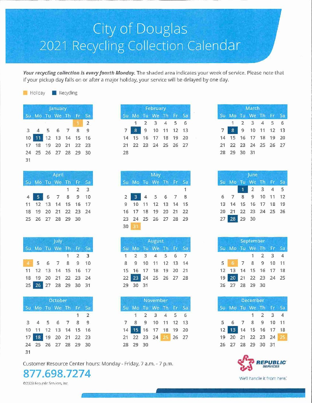 2021 Recycling Calendar The City Of The Village Of Douglas