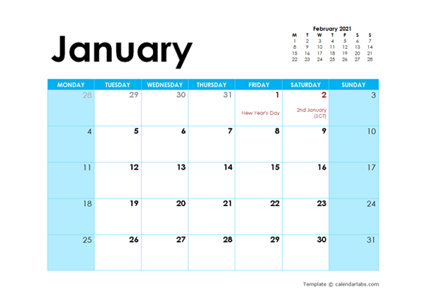 2021 Uk Monthly Calendar Colorful Design Free Printable