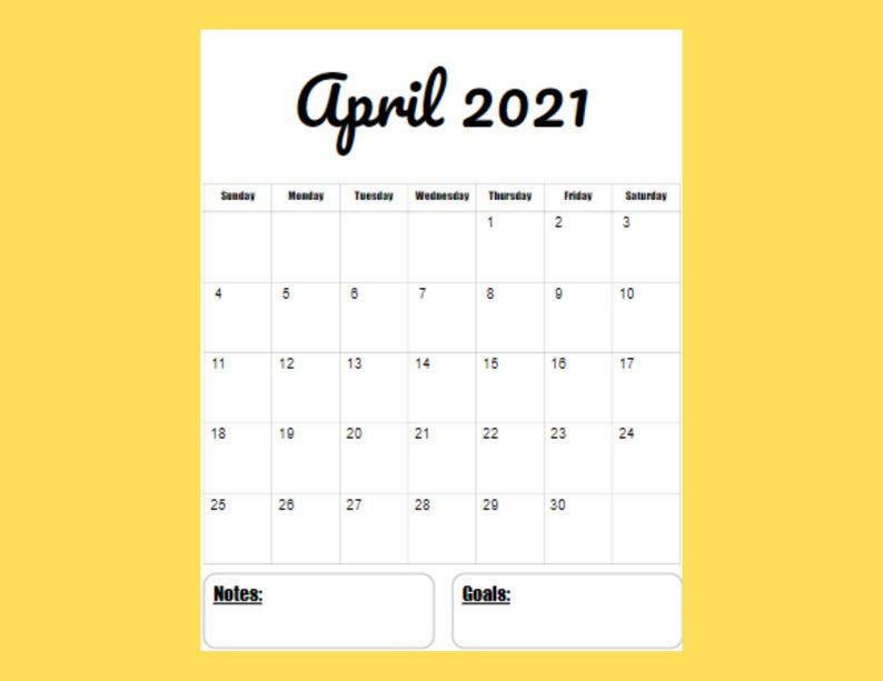 2021 Vertical Calendar Printable Template 12 Month 8 5 X