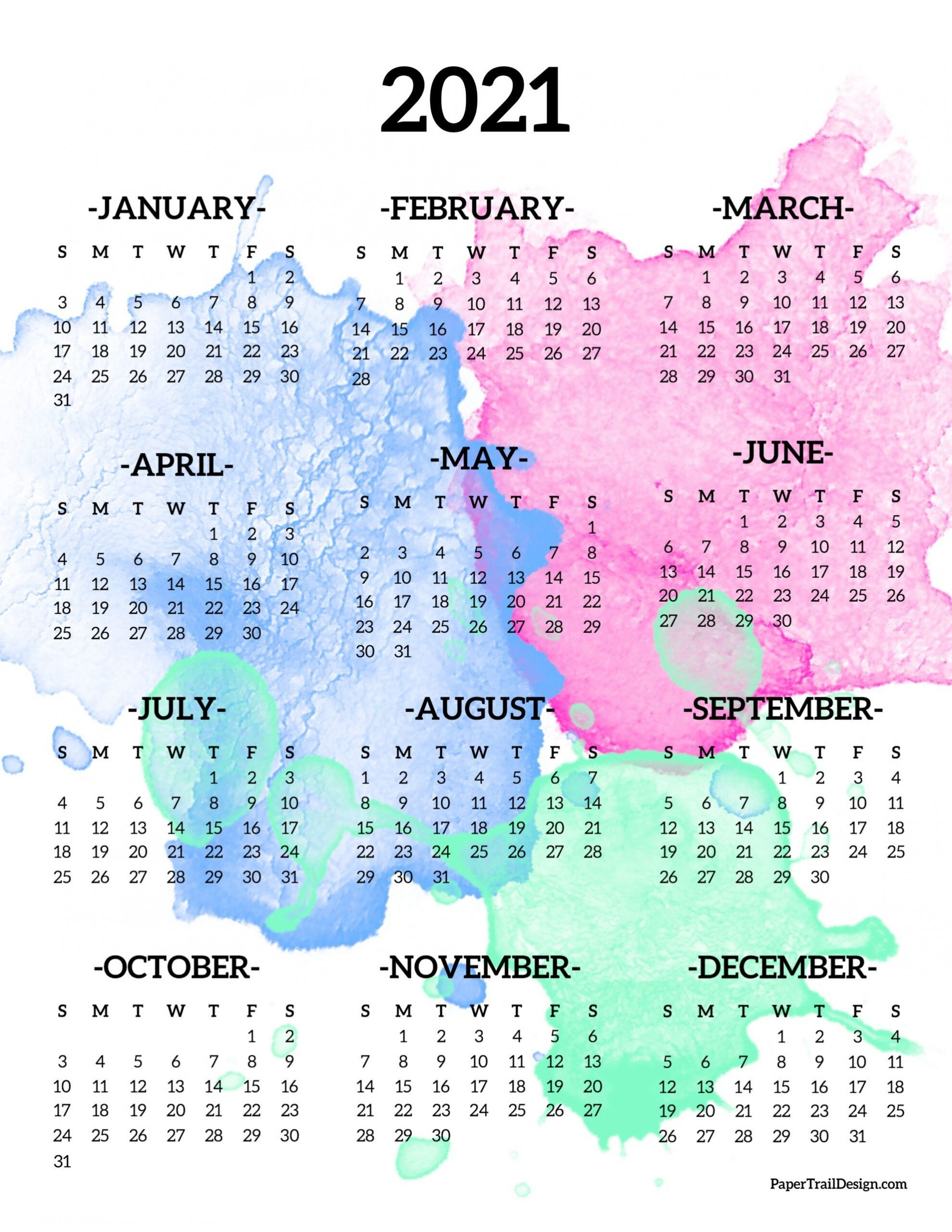 2021 Year At A Glance Free Example Calendar Printable