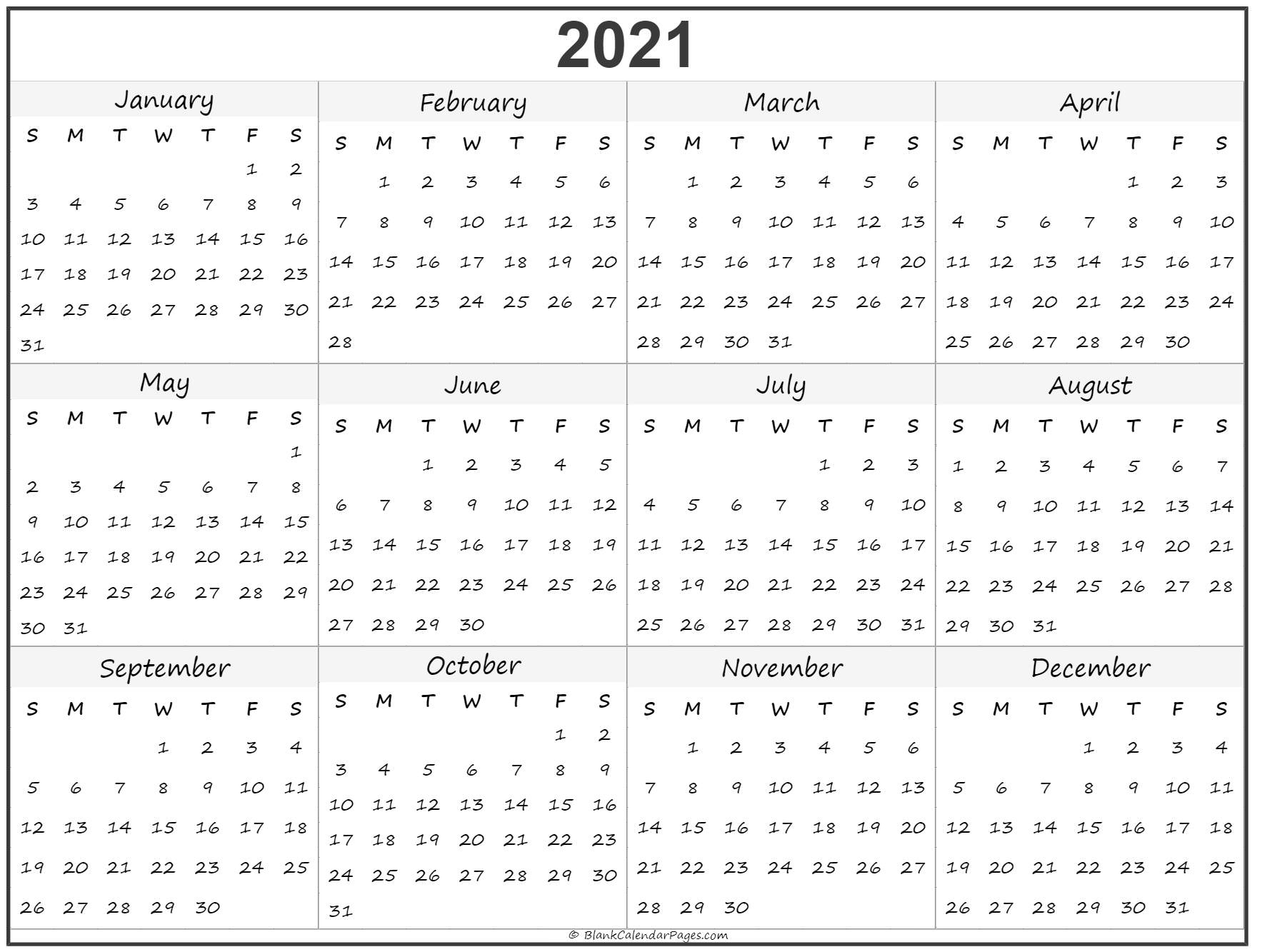 2021 Year Calendar Yearly Printable 1