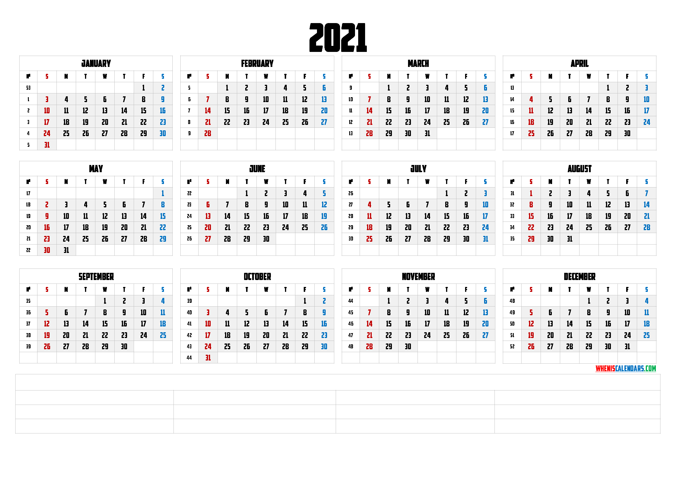 2021 Yearly Calendar Template Word Premium Templates In