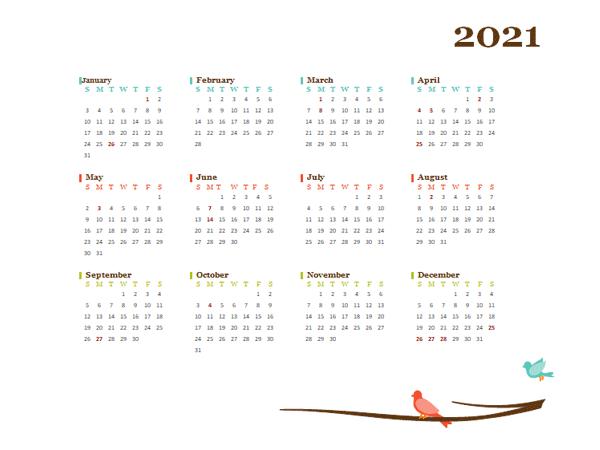 2021 Yearly Hong Kong Calendar Design Template Free