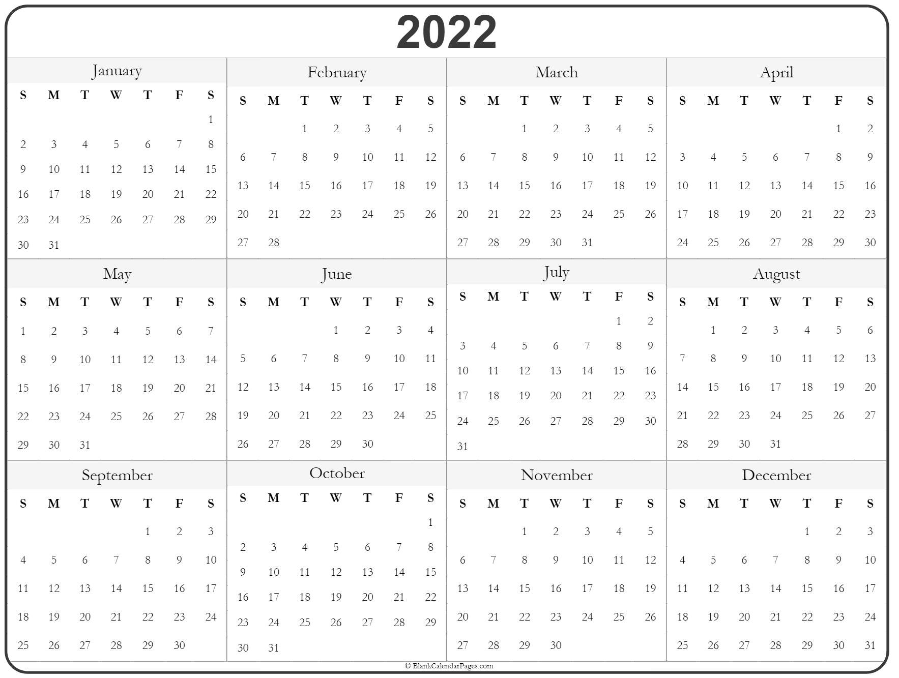2022 Year Calendar Yearly Printable 1