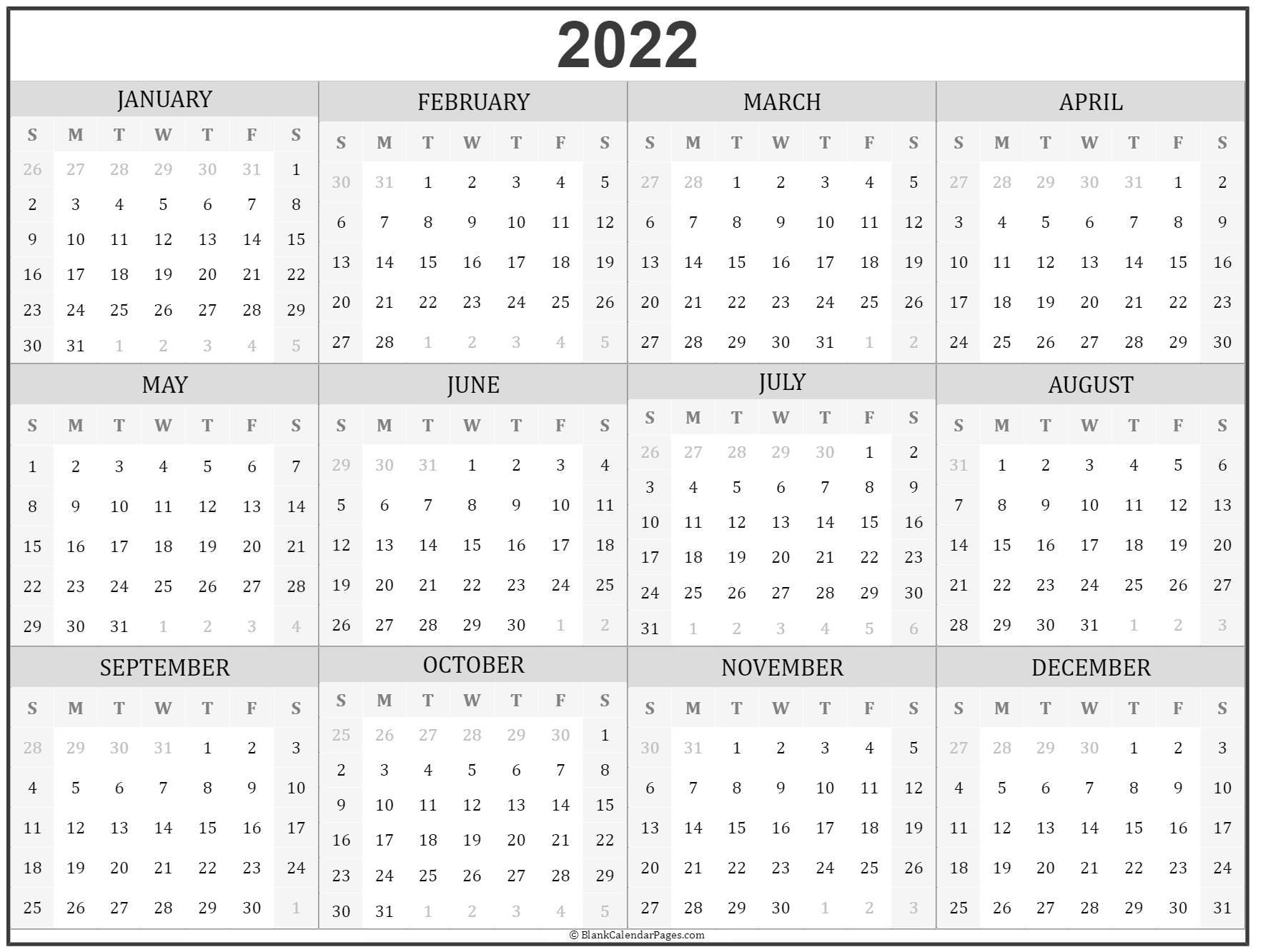 2022 Year Calendar Yearly Printable