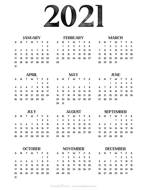 24 Pretty Free Printable One Page Calendars For 2021