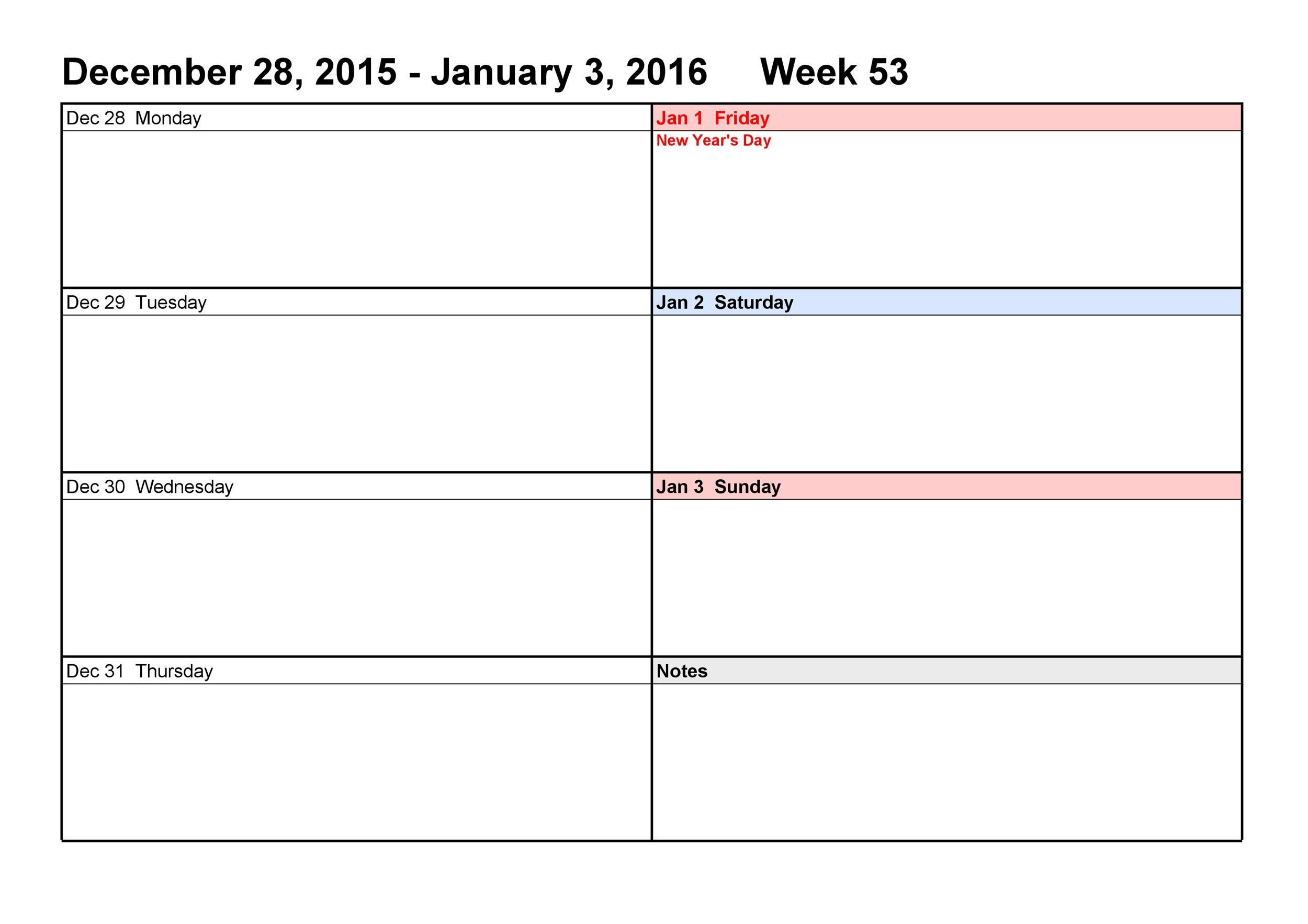 26 Blank Weekly Calendar Templates Pdf Excel Word E19085 1