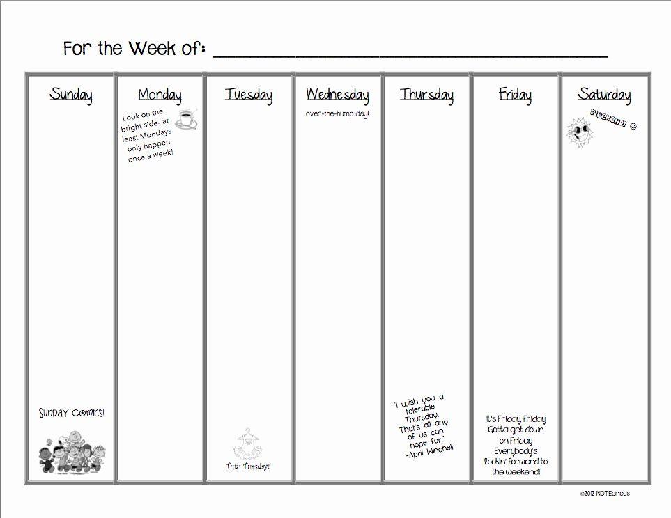 30 7 Day Week Schedule Template In 2020 Schedule