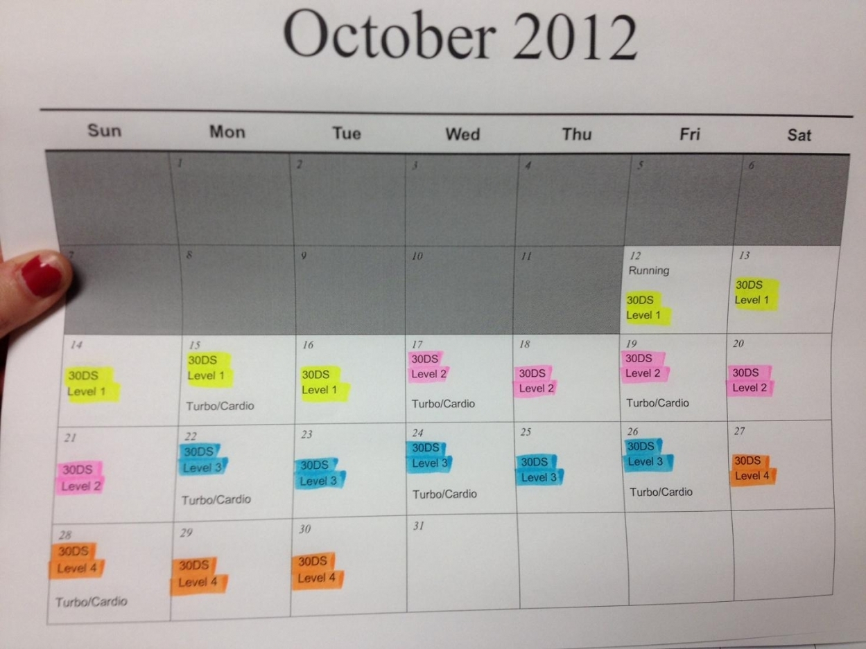 30 Day Shred Calendar Printable Free Letter Templates