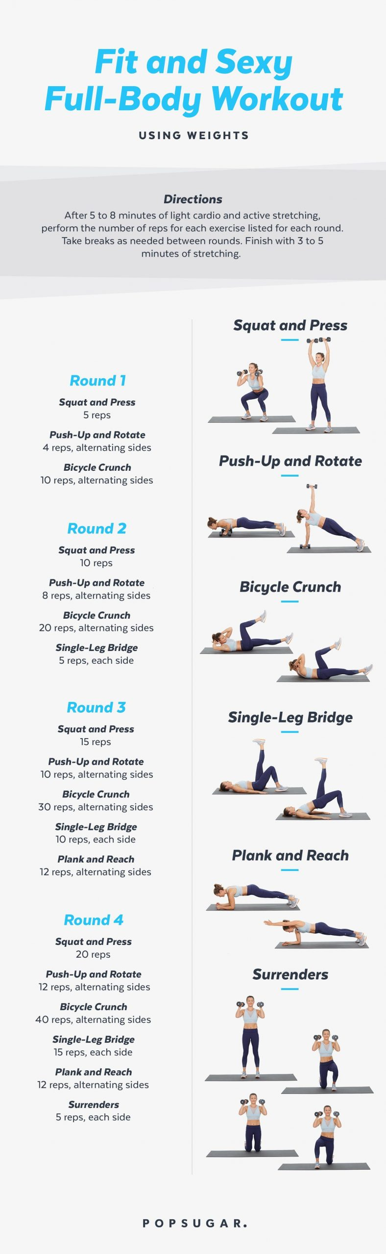30 Minute Full Body Workout With Weights Workout Schedule Exercise Workout